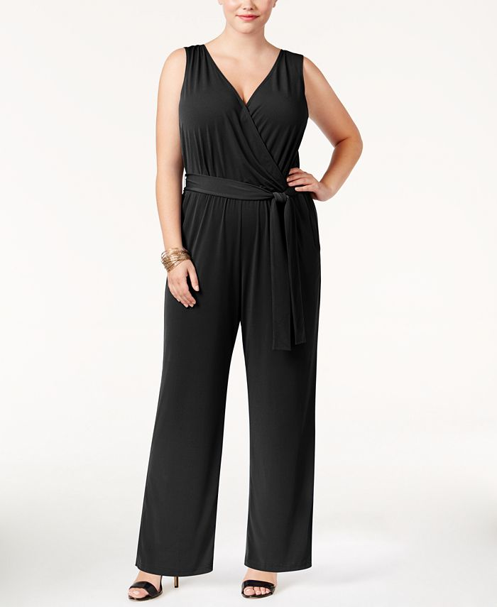 NY Collection - Plus Size Jumpsuit, Sleeveless Belted