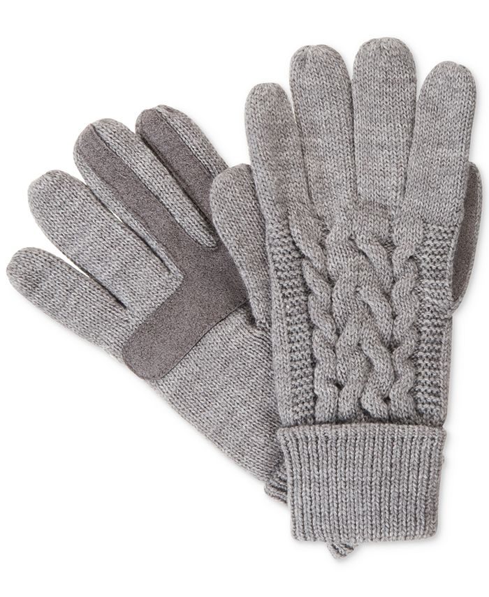 Isotoner Signature - Touchscreen Enabled Solid Triple Cable Knit Palm Gloves