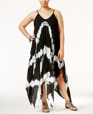 Raviya Plus Size Tie-Dye Handkerchief-Hem Cover-Up Dress Women's Swimsuit