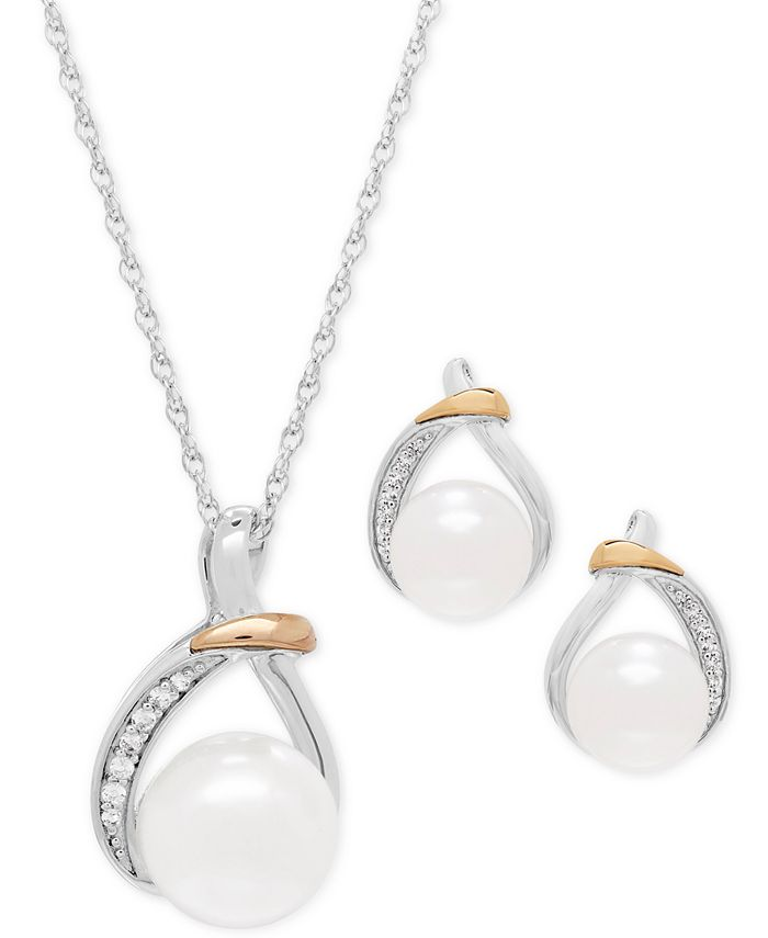 Macy's - Cultured Freshwater Pearl (9 & 10mm) and White Topaz (1/6 ct. t.w.) Pendant Necklace and Matching Stud Earrings Set in Sterling Silver and 14k Gold