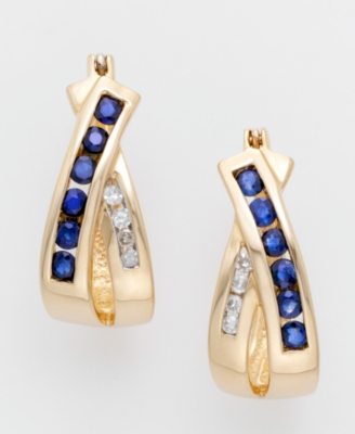 14k Gold Sapphire & Diamond Earrings