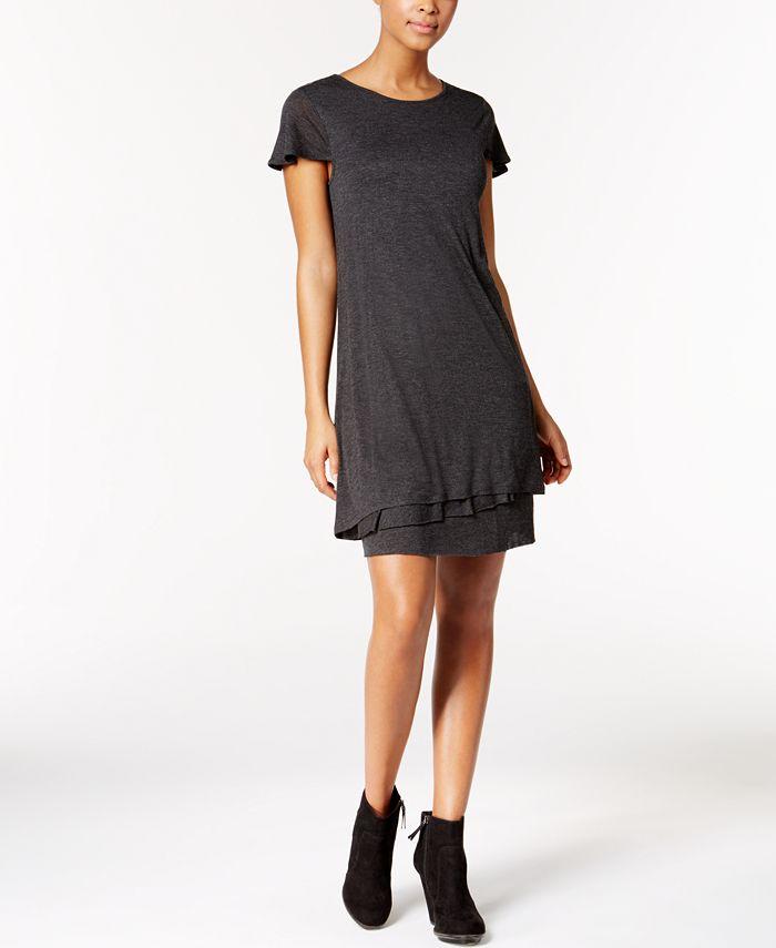 kensie - Heathered Tiered-Hem Dress