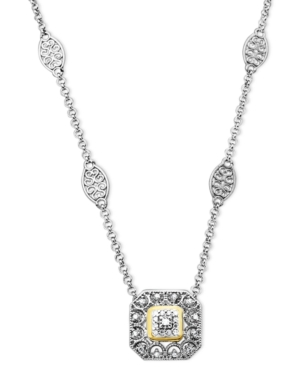 14k Gold and Sterling Silver Necklace, Diamond Square (1/10 ct. t.w.)