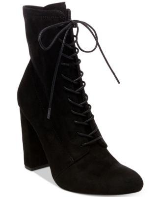 Elley Lace-Up Block-Heel Booties
