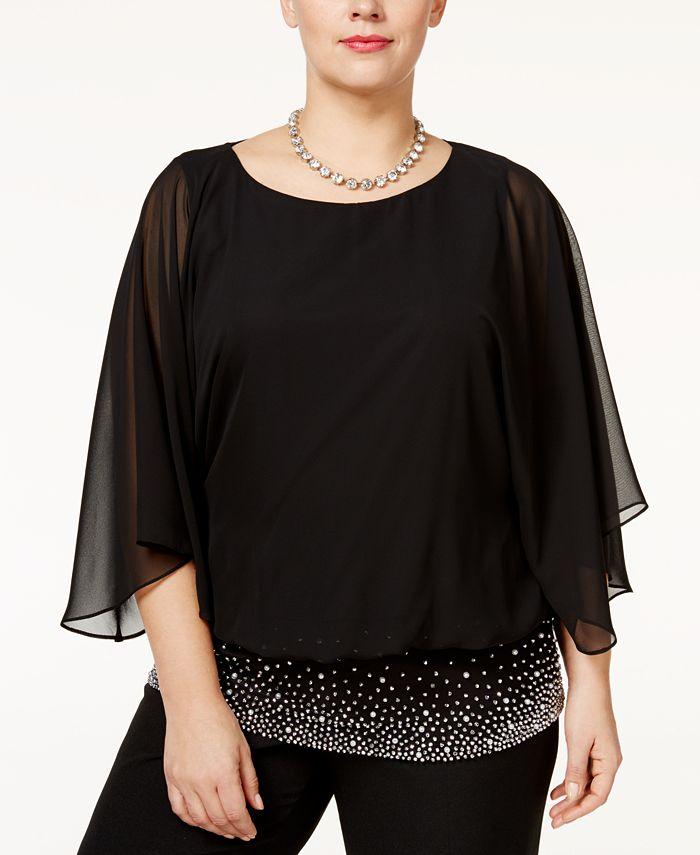 MSK - Plus Size Embellished Banded Chiffon Blouse