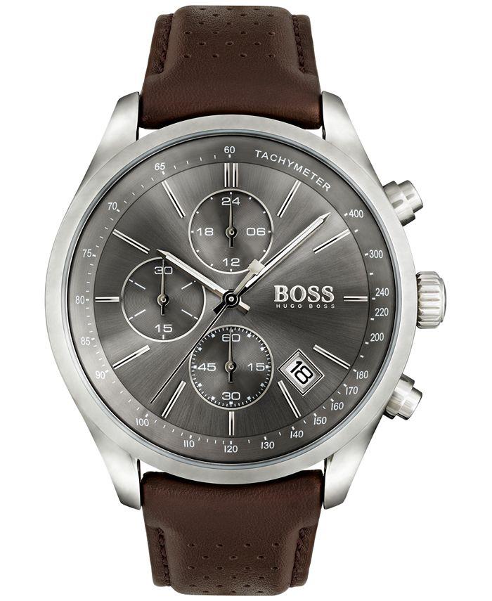 BOSS - Men's Chronograph Grand Prix Brown Leather Strap Watch 44mm 1513476