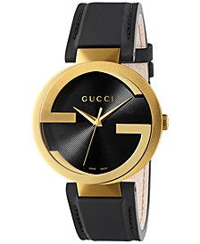 Gucci Men's Swiss Interlocking Black Leather Strap Watch 42mm