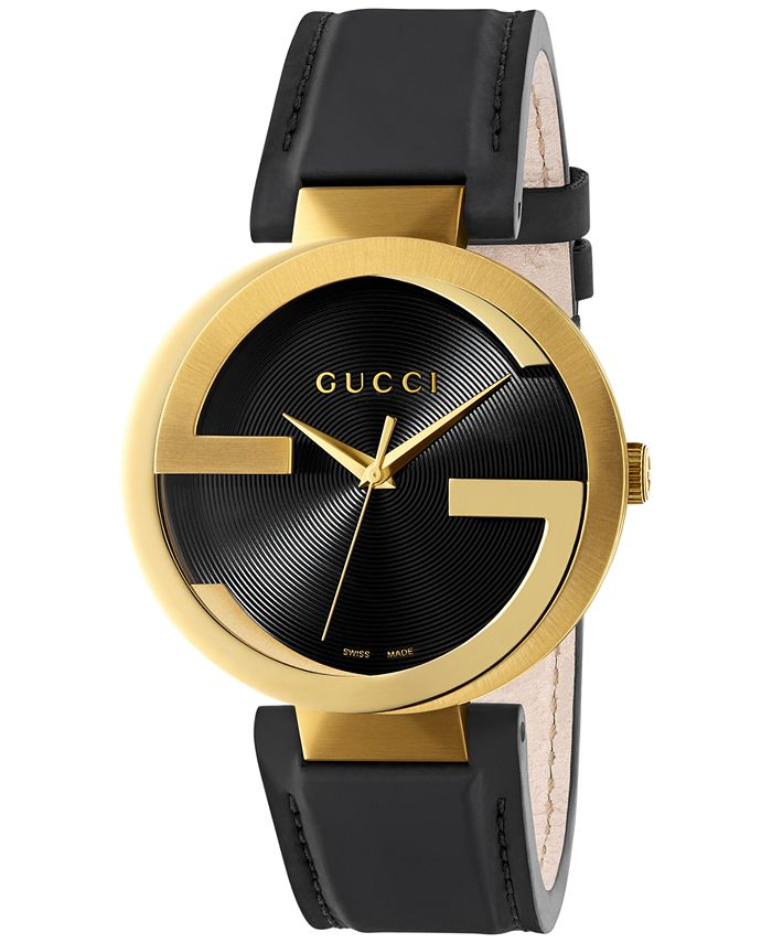 Gucci - Men's Swiss Interlocking Black Leather Strap Watch 42mm YA133212