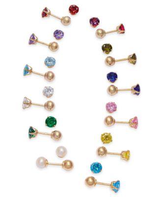 Children's Cubic Zirconia October Birthday Reversible Earrings in 14k Gold