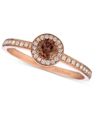 Le Vian 14k Rose Gold Ring, Chocolate and White Diamond Circle (3/8 ct. t.w.)