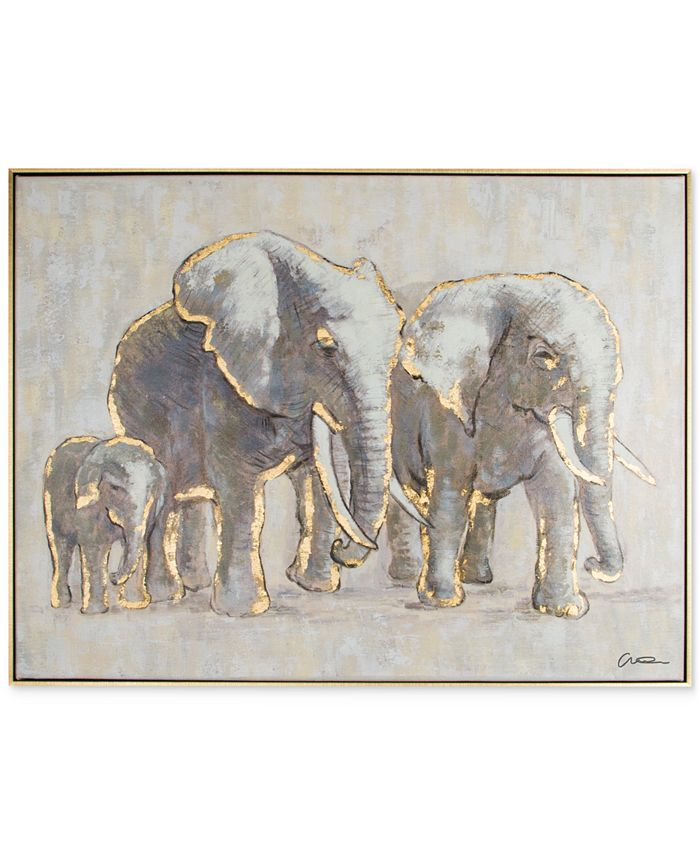 Graham & Brown - Metallic Elephant Family Handpainted Framed Canvas Wall Art