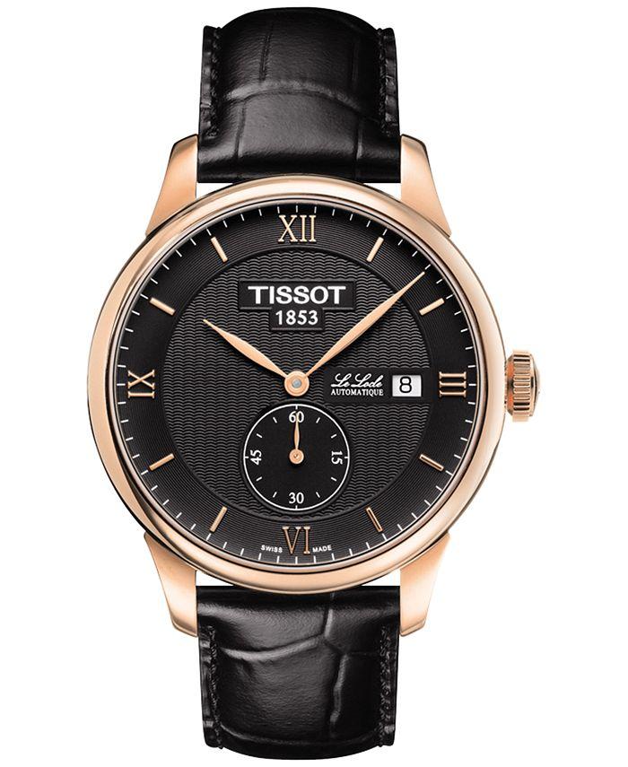 Tissot - Men's Swiss Automatic Chronograph T-Classic Le Locle Black Leather Strap Watch 39mm T0064283605801
