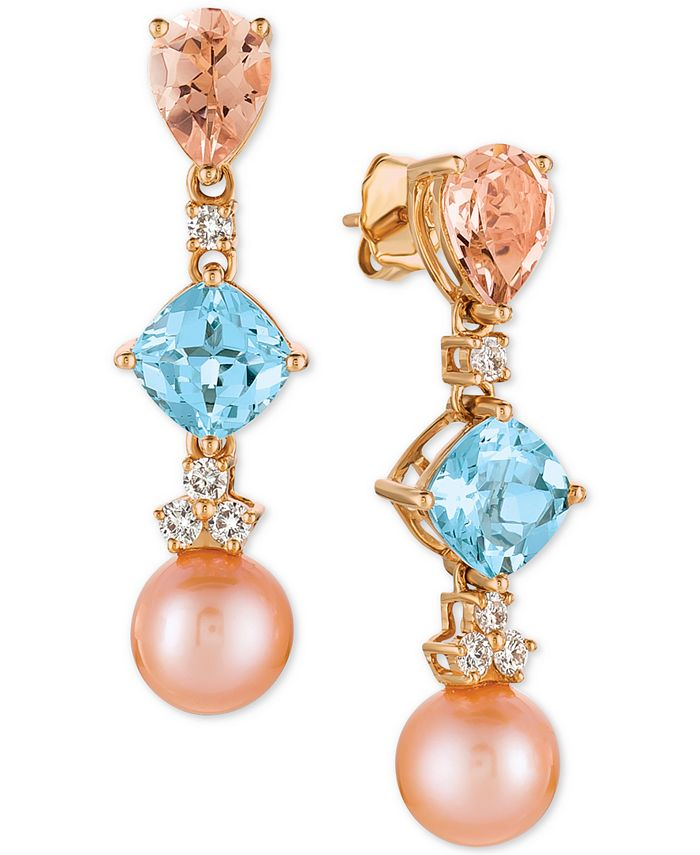 Le Vian - Multi-Gemstone (3-3/4 ct. t.w.), Cultured Freshwater Pearl (9mm) and Diamond (1/3 ct. t.w.) Drop Earrings in 14k Rose Gold
