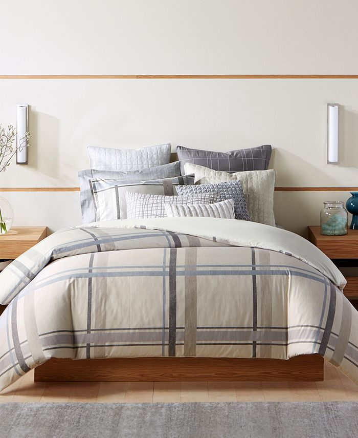 Hotel Collection - Modern Plaid Twin Comforter