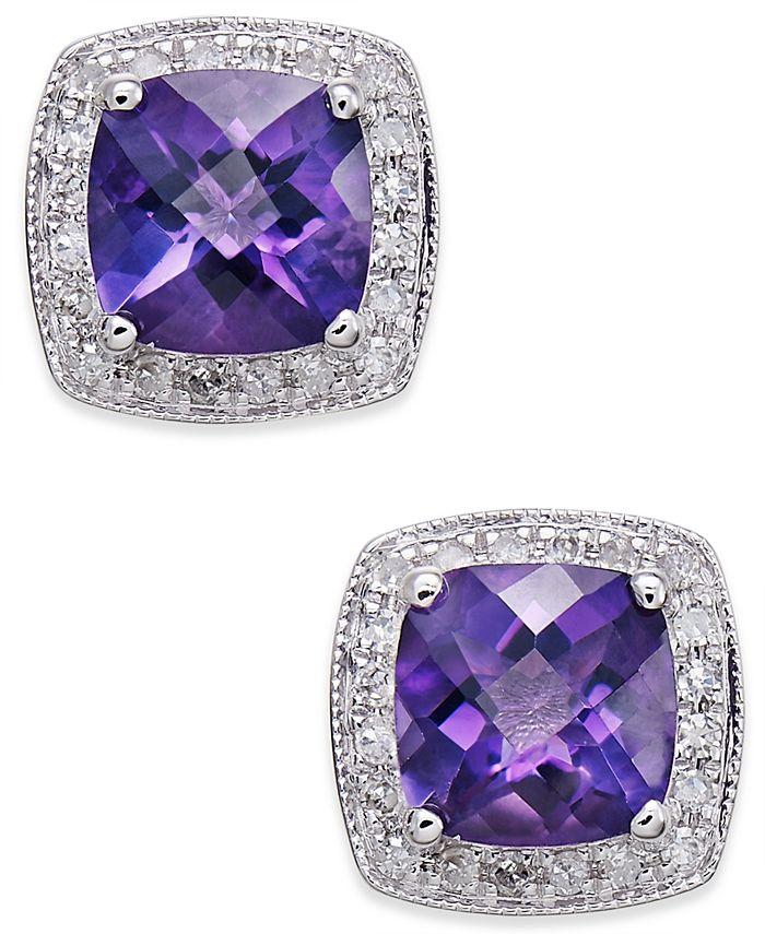 Macy's - Amethyst (1-5/8 ct. t.w.) and Diamond (1/6 ct. t.w.) Stud Earrings in 14k White Gold