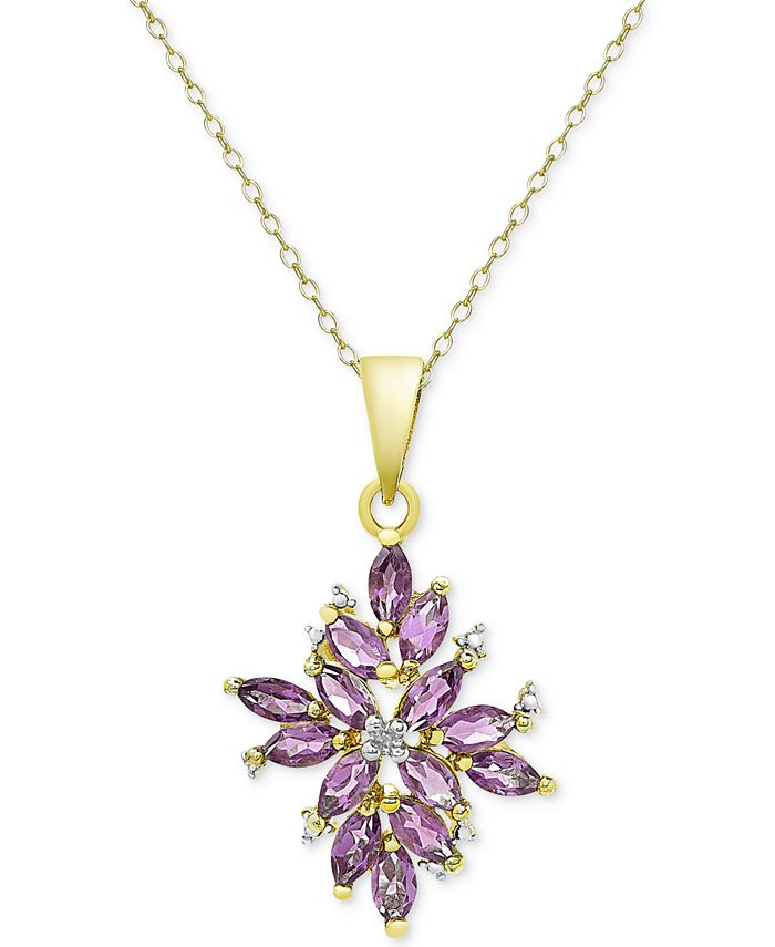 Macy's - 18k Gold-Plated Multi-Stone Cluster Pendant Necklace
