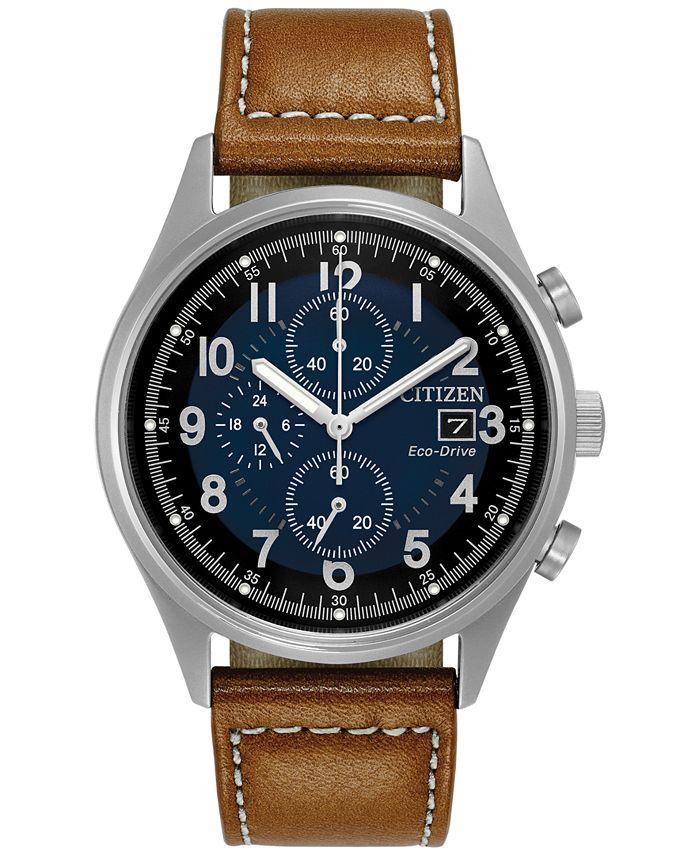 Citizen - Men's Eco-Drive Chronograph Brown Leather Strap Watch 42mm CA0621-05L