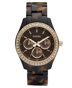 Fossil Watch Womens Stella Tortoise Resin Bracelet with Crystals 37MM ES2795