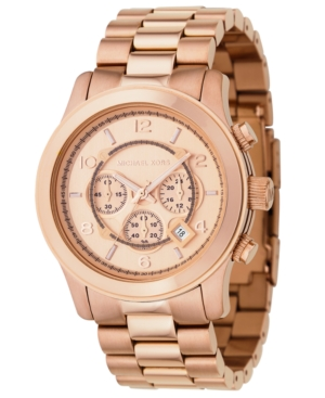 Michael Kors Watch, Men's Runway Rose Gold Plated Stainless Steel Bracelet 46mm MK8096