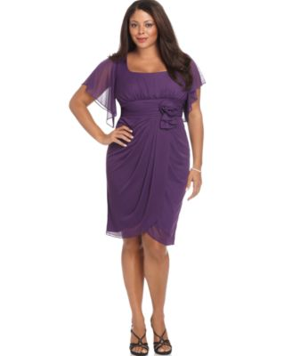 Onyx Plus Size Dress, Sheer Sleeve Evening