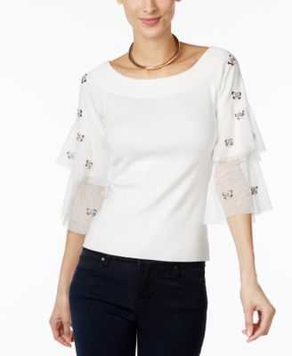 INC International Concepts Embellished Tulle-Sleeve Sweater, Only at Macys