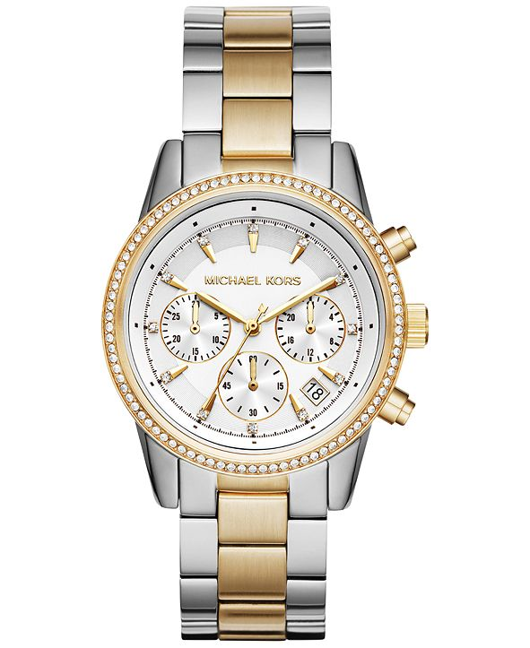 Michael Kors Women's Chronograph Ritz Two-Tone Stainless Steel Bracelet Watch 37mm