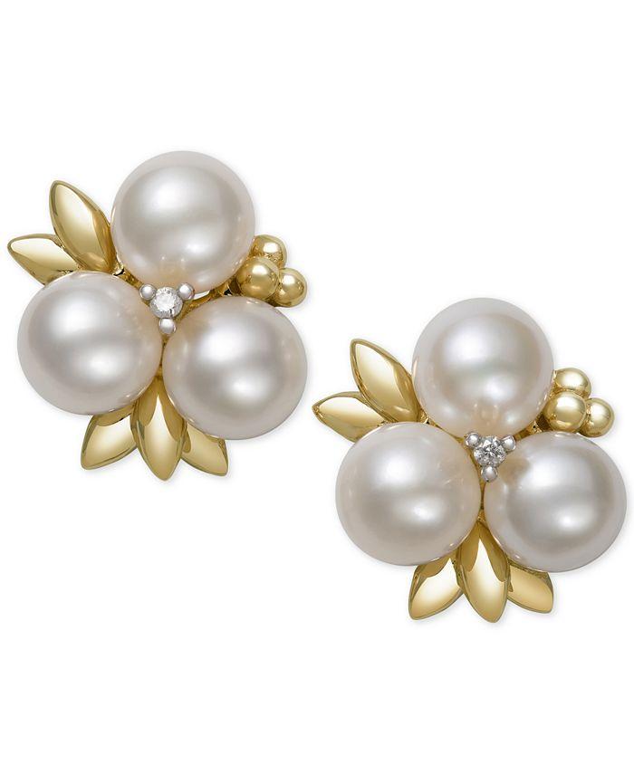 Belle de Mer - Cultured Freshwater Pearl (6mm) and Diamond Stud Earrings in 14k Gold