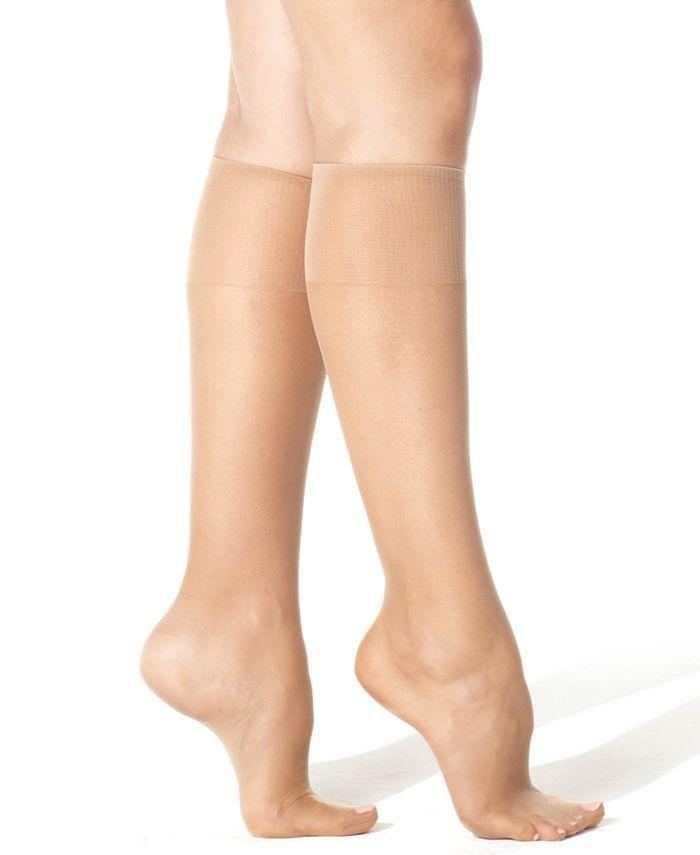 Hanes - Silk Reflections Plus Knee Highs Silky Sheers