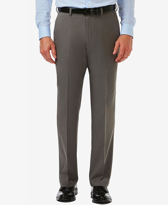 Haggar - Men's  Cool 18 PRO® Classic-Fit Expandable Waist Flat Front Stretch Dress Pants