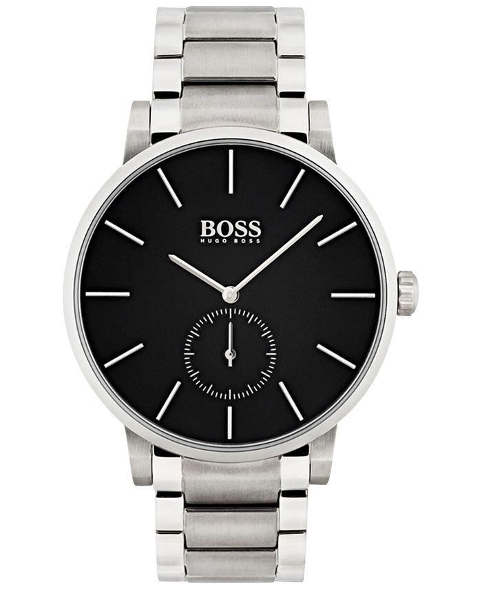 BOSS - Men's Essence Black Stainless Steel Bracelet Watch 42mm 1513501
