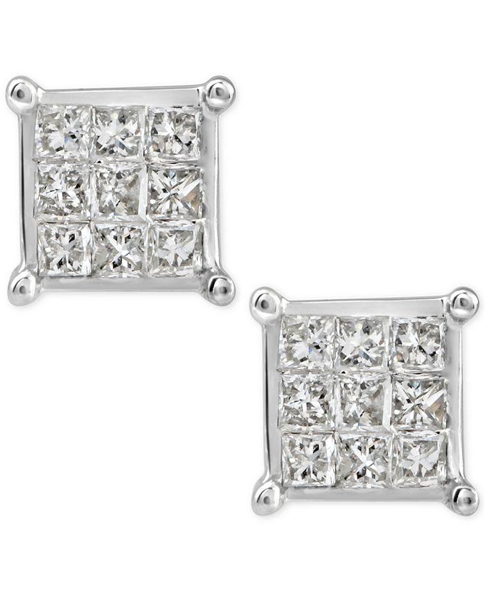 Macy's - Diamond Quad Cluster Stud Earrings (1/4 ct. t.w.) in 10k White Gold