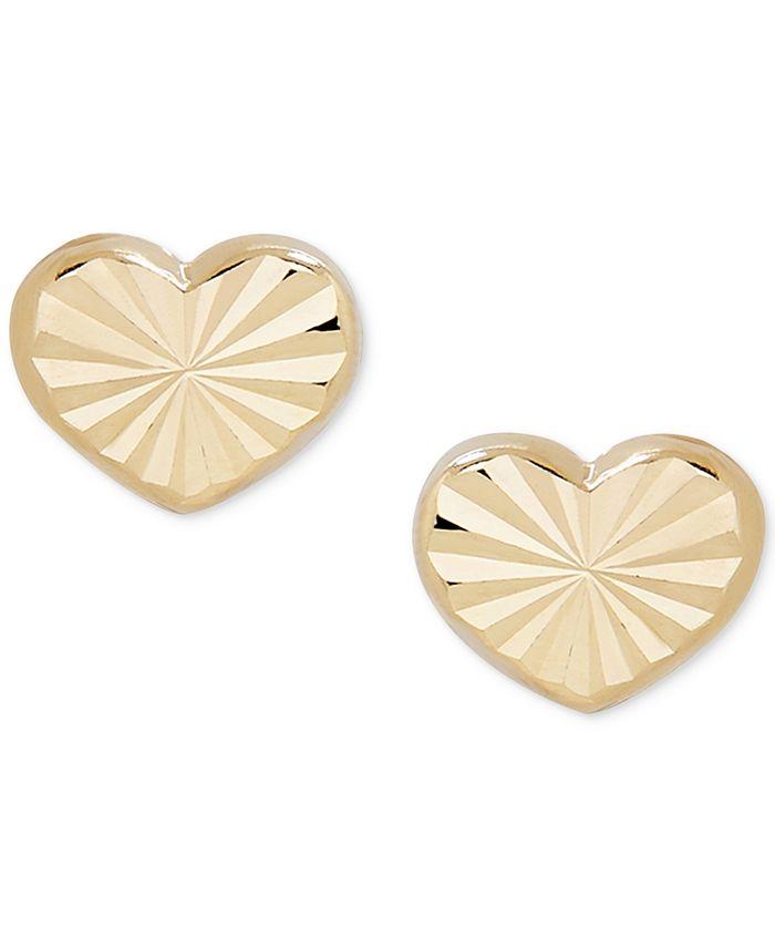 Macy's - Children's Textured Heart Stud Earrings in 14k Gold