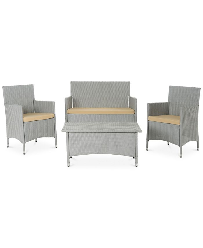 Safavieh - Chrystie Wicker Outdoor 4-Pc. Seating Set (1 Loveseat, 2 Chairs & 1 Coffee Table), Quick Ship