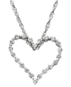 Diamond Heart Necklace, 14k White Gold Diamond Certified Near Colorless Heart Pendant (1/4 ct. t.w.)
