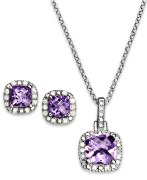 Victoria Townsend Sterling Silver Pendant and Earrings Set, Amethyst (2-1/3 ct. t.w.) and Diamond Accent Square