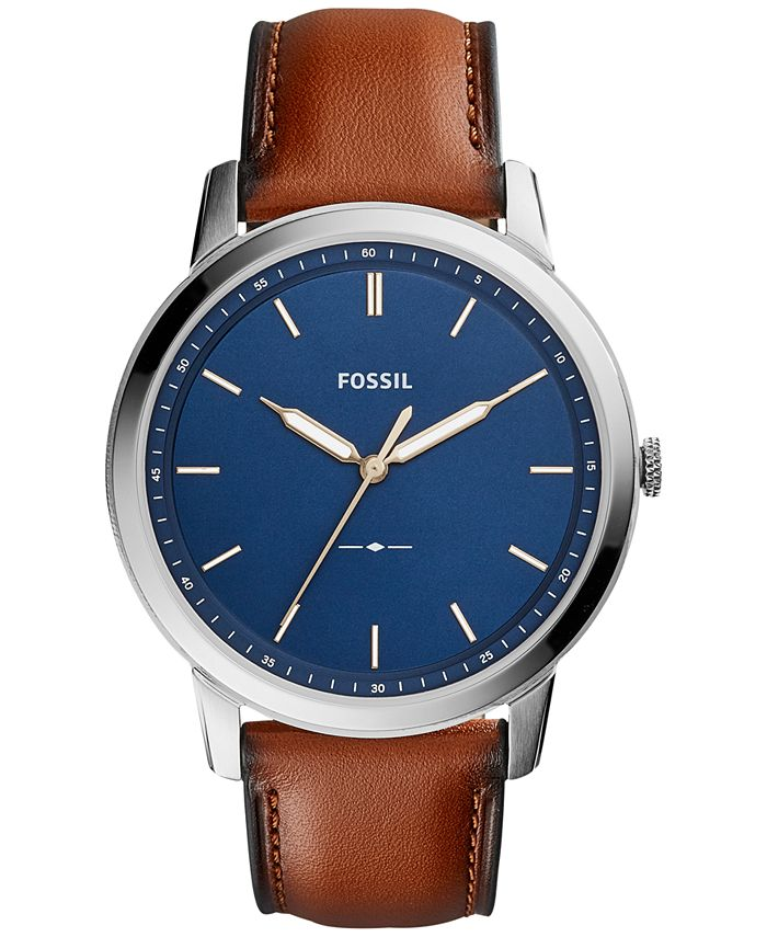 Fossil - Men's The Minimalist Brown Leather Strap Watch 44mm FS5304