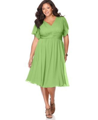Suzi Chin Plus Size Dress, Flutter Sleeve Empire Waist