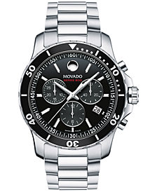 Movado Men's Swiss Chronograph Series 800 Performance Steel Bracelet Diver Watch 42mm
