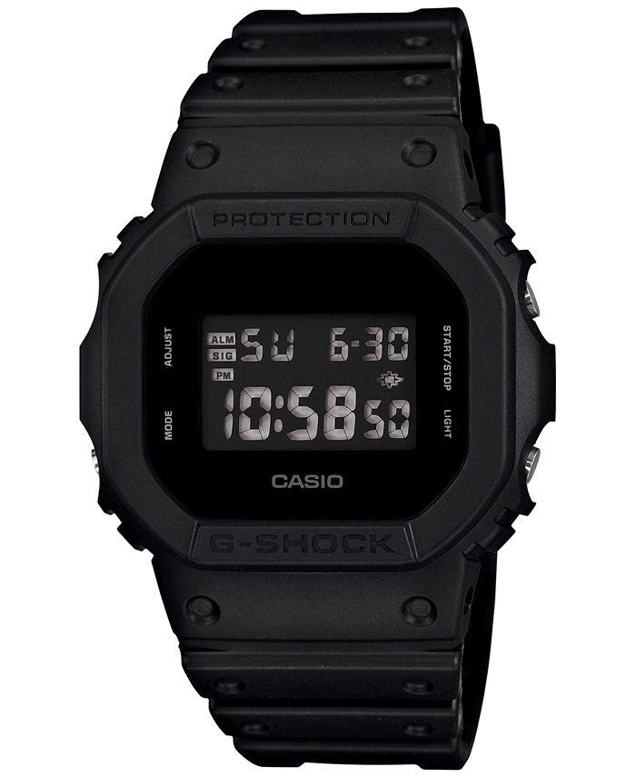 G-Shock - Men's Digital Black Resin Strap Watch 43x43mm DW-5600BB-1