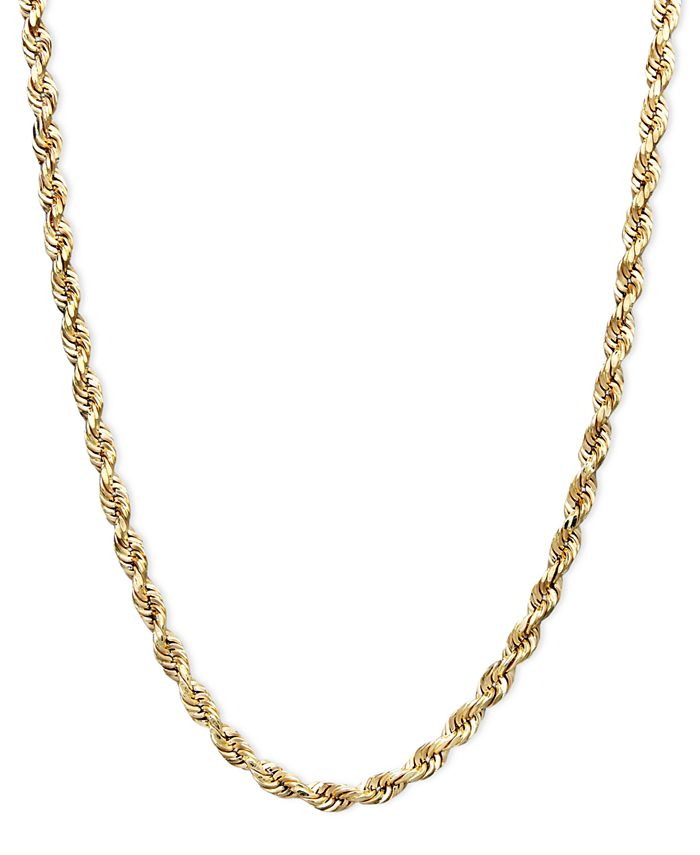 Macy S 14k Gold Necklace 22 Rope Chain 2 1 2mm Reviews Necklaces Jewelry Watches Macy S