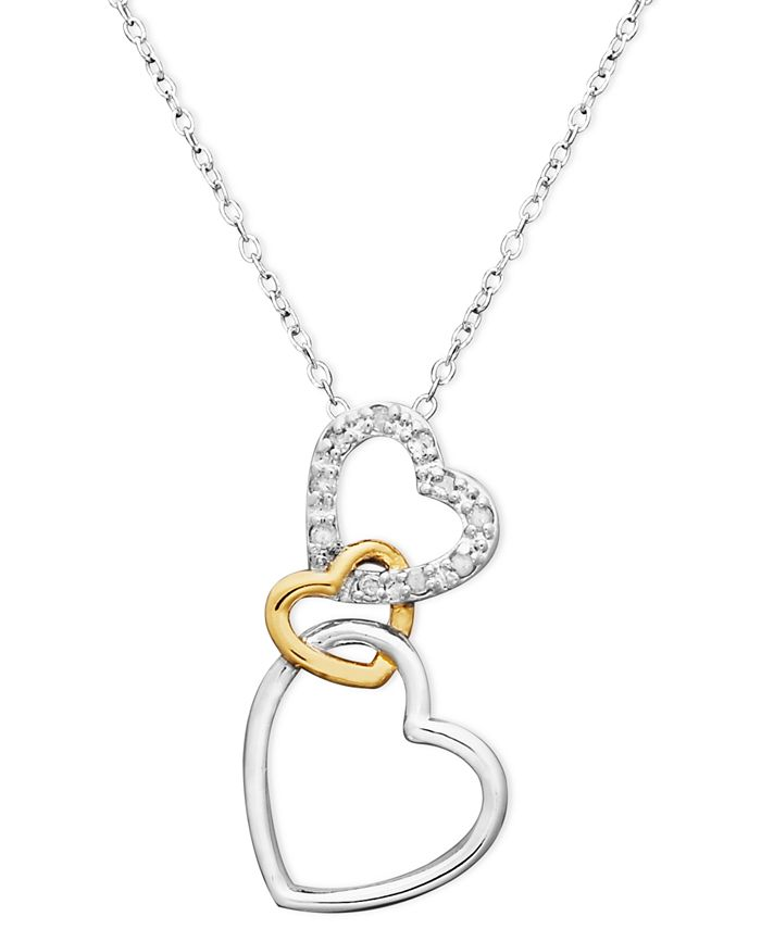 Macy's - 18k Gold over Sterling Silver and Sterling Silver Heart Necklace, Diamond Accent Three Interlocking Heart Pendant