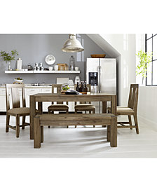 """Canyon Small 6-Pc.Dining Set, (60"""" Dining Table, 4 Side Chairs & Bench), Created for Macy's"""