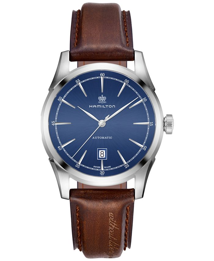 Hamilton - Men's Swiss Automatic American Classic Brown Leather Strap Watch 42mm