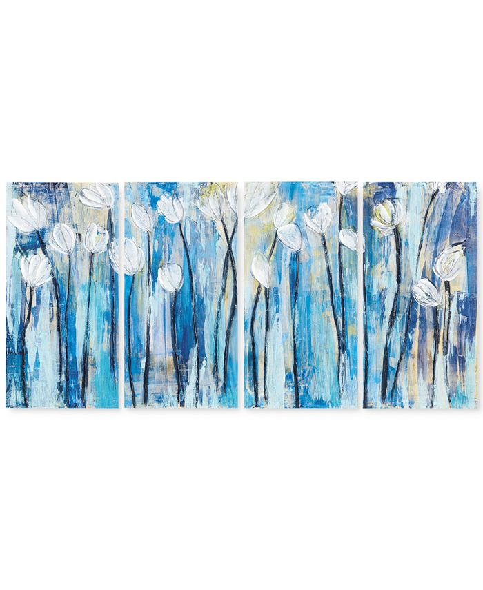 JLA Home - Ocean Breeze Blossom 4-Pc. Gel-Coated Canvas Print Set