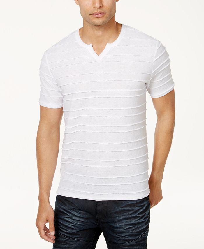 INC International Concepts - Men's Split-Neck Textured T-Shirt