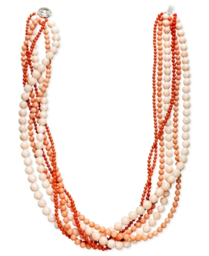 Pearl Necklace, Sterling Silver Multicolor Cultured Freshwater Pearl and Coral Six Row