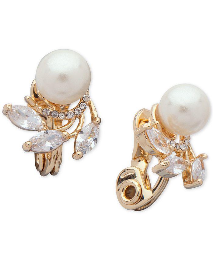 Anne Klein - Cubic Zirconia & Imitation Pearl Clip-On Earrings