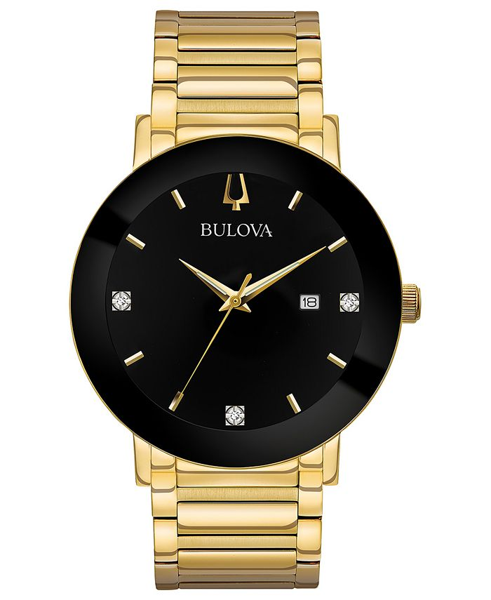 Bulova - Men's Diamond Dress Diamond-Accent Gold-Tone Stainless Steel Bracelet Watch 42mm