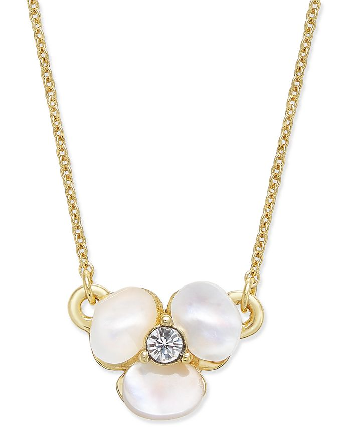 kate spade new york - Gold-Tone Pavé & Mother-of-Pearl Flower Pendant Necklace