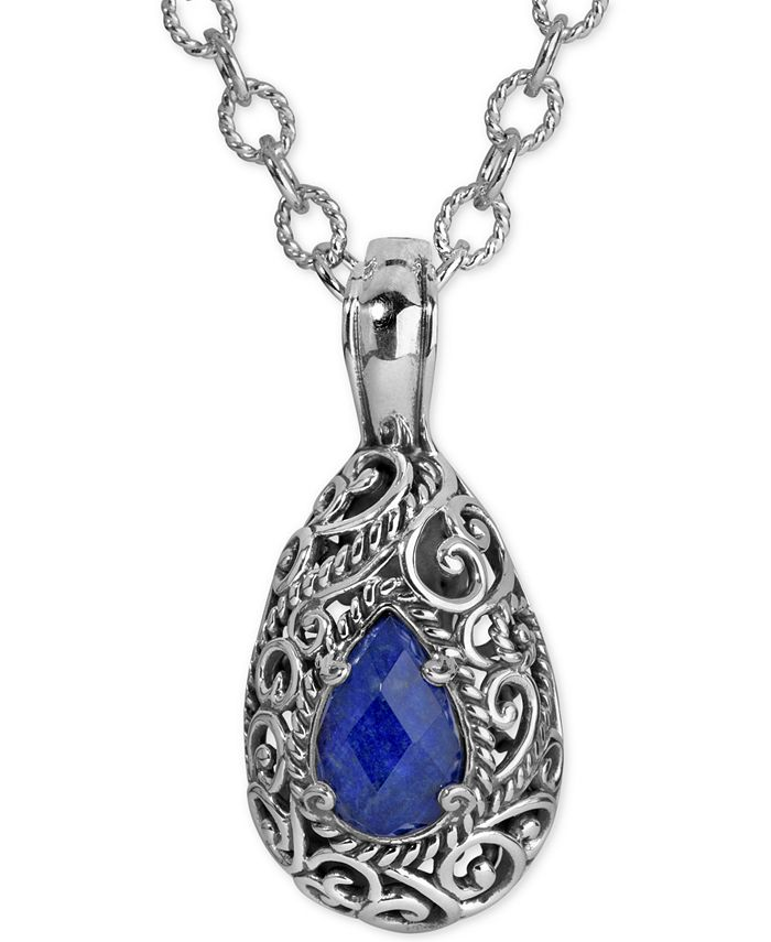 Carolyn Pollack - Lapis Lazuli Doublet Pendant Necklace (6 ct. t.w.) in Sterling Silver